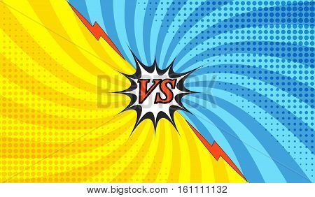 Comic fight colorful template with two opposite sides in pop-art style. Versus wording. Radial background. Representation of confrontational warriors before battle. Vector illustration