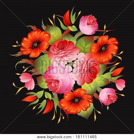 Red floral russian vintage pattern on black vector