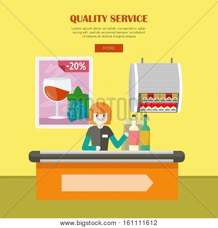 Quality service in supermarket vector banner. Flat style. Smiling woman cashier sits behind the cash register and ringing drinks. Comfortable and fast purchases illustration for store web page design.