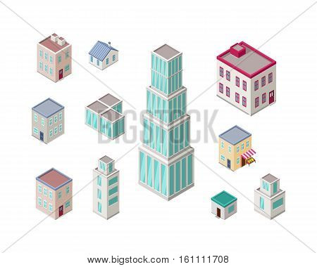 Isometric city buildings vector set. Isometry icons of city. Modern architecture, skyscraper exterior, clean city. Home and office buildings. Eco friendly environment. Residential estate cityscape.