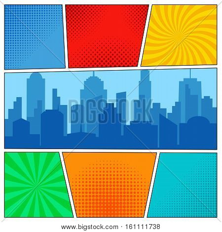 Comic book page template with radial backgrounds halftone effects and city silhouette in pop-art style. Vector illustration