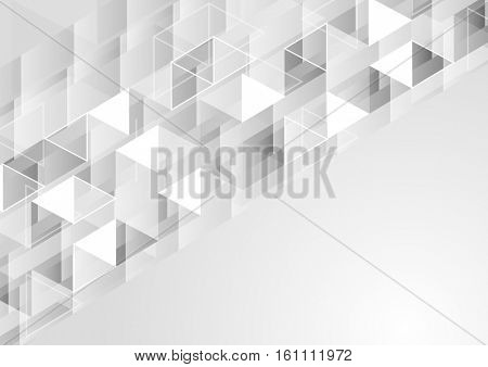 Grey geometric polygonal pixelated vector tech background