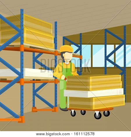 Equipment delivery process of warehouse. Interior, logisti and factory, loader man in building exterior, business delivery, storage cargo. Unloading disembarkation unshipping of goods. Vector