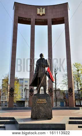 LVIV UKRAINE - April 16 2015 : Leader of Ukrainian national movement Stepan Bandera monument in Lviv Ukraine. Monument was built in 2004-2007 by Mykola Posikira and Mykhailo Fedko.