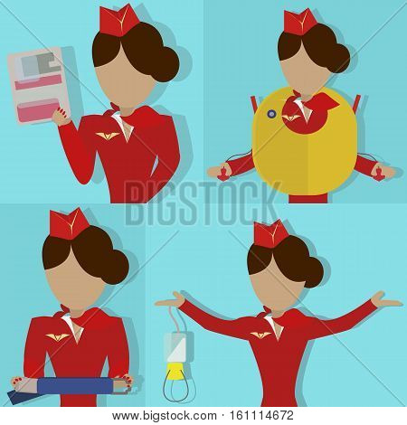 The Stewardess shows the safety demonstration card, seat belt, oxygen mask and life vest. Vector illustrationon on  blue background