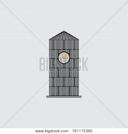 icon bunker silos, emblem for the company, saving grain, agriculture, fully editable vector image