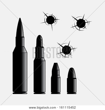 icons of different caliber bullets, the bullet hole, violence, gangsters, shooting, gunshot wounds ammunition