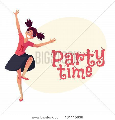 Full length portrait of teenaged black haired girl with ponytails dancing, cartoon style invitation, greeting card design. Party invitation, advertisement, Smiling girl with ponytails dancing