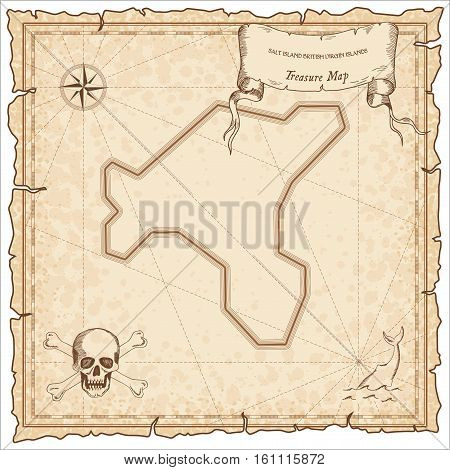 Salt Island, British Virgin Islands Old Pirate Map. Sepia Engraved Parchment Template Of Treasure Is