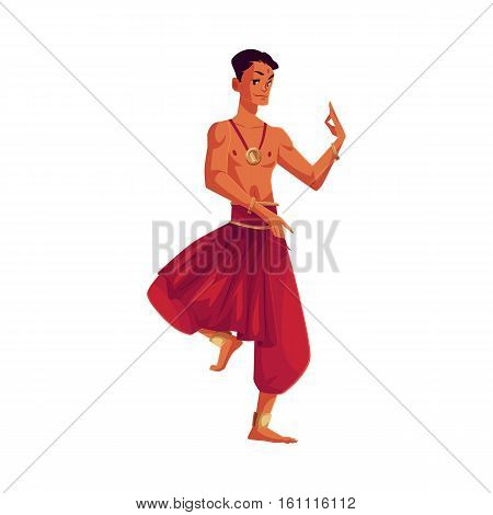 Indian male dancer in traditional harem pants, cartoon vector illustration isolated on white background. Traditional Indian male dancer wearing baggy pants and ankle brecelets, Bollywood performer