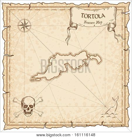 Tortola Old Pirate Map. Sepia Engraved Parchment Template Of Treasure Island. Stylized Manuscript On
