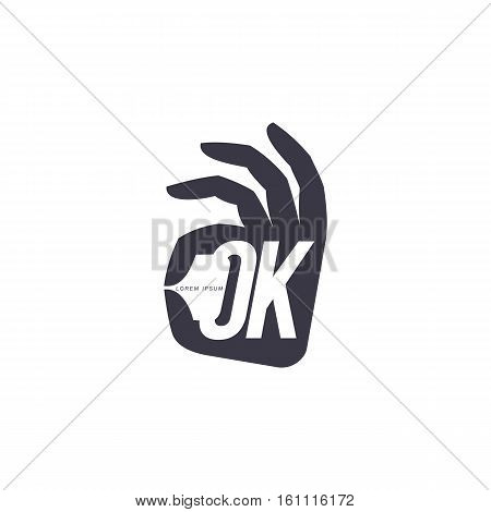 Stylized, simplified hand showing OK sign, logo template, vector illustration isolated on white background. Black and white graphic hand with fingers forming OK sign, corporate logo design