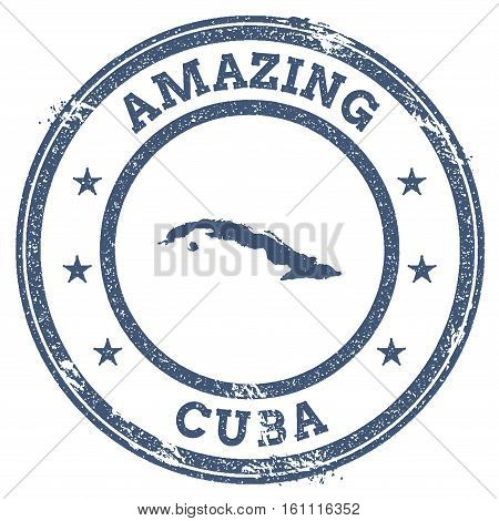 Vintage Amazing Cuba Travel Stamp With Map Outline. Cuba Travel Grunge Round Sticker.