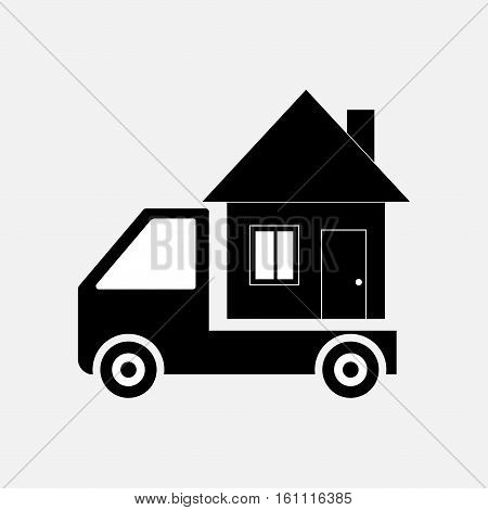 icon moving home, transportation, mobile home, mobile home, fully editable vector image