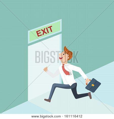 Businessman runs to exit door in the office. Running businessman and open door