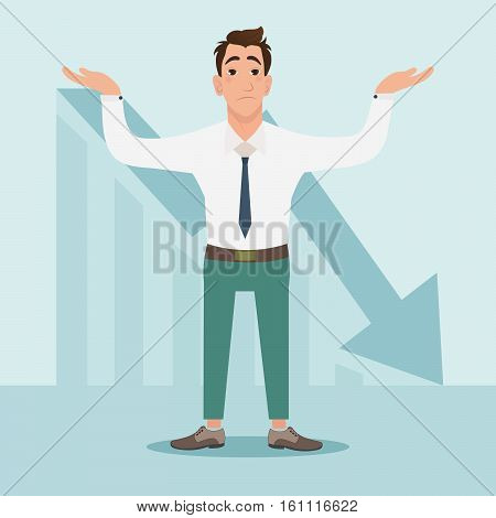 Businessman with falling down chart is confused. Bankruptcy concept in vector illustration