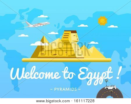 Welcome to Egypt poster with famous attraction vector illustration. Travel design with ancient pyramid and Sphinx statue in desert. World air travel and tourism concept, traveling agency banner