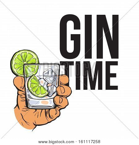 Hand holding glass of gin, vodka, soda water with ice and lime, sketch style vector illustration for poster, banner, invitation design. Hand drawing of male hand with alcohol drink, gin time concept