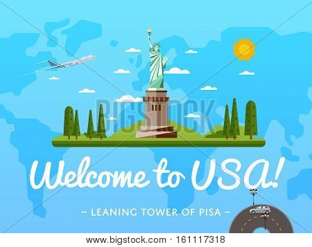 Welcome to USA poster with famous attraction vector illustration. Travel design with Statue of Liberty. World tourism, time to travel, discover new places concept, tour guide for traveling agency