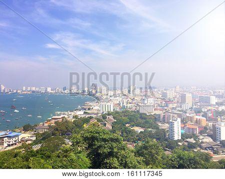 Pattaya city viewpoint on the afternoon sun light, Landscape of pattaya city view