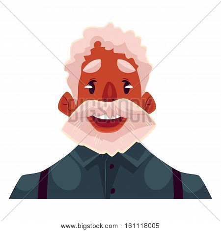 Grey haired old african man face wow facial expression, cartoon vector illustrations isolated on white background. Old black man, grandfather emoji surprised, amazed, astonished. Surprised