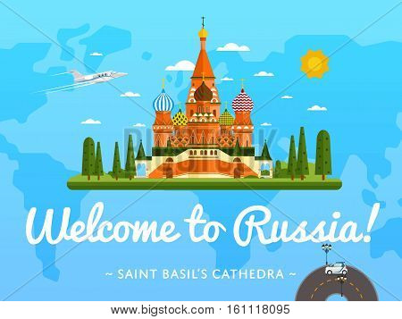 Welcome to Russia poster with famous attraction vector illustration. Travel design with Saint Basil's Cathedral at Red Square. World landmark and historical place, tour guide for traveling agency