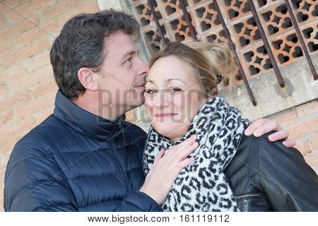 a forties couple are in love outdoor