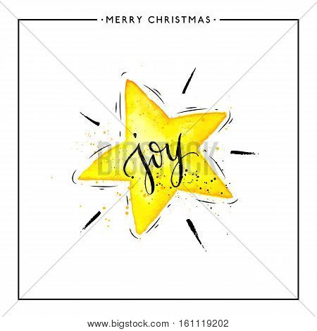 Joy text on watercolor yellow star isolated on white background, hand painted xmas quote, vector christmas lettering for holiday card, poster, banner, print, invitation, handwritten calligraphy