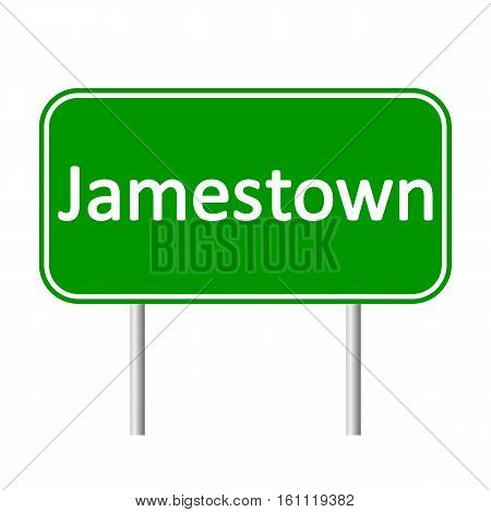 Jamestown road sign isolated on white background.