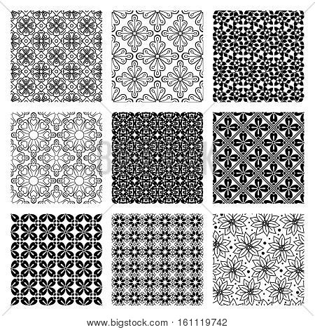 Grey and white geometric patterns collection. Vector illustration