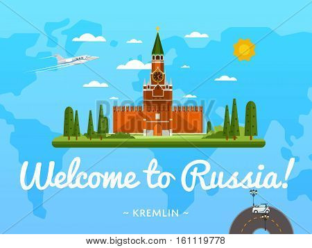 Welcome to Russia poster with famous attraction vector illustration. Travel design with Kremlin palace at Red Square. Worldwide landmark and historical place, tour guide for traveling agency