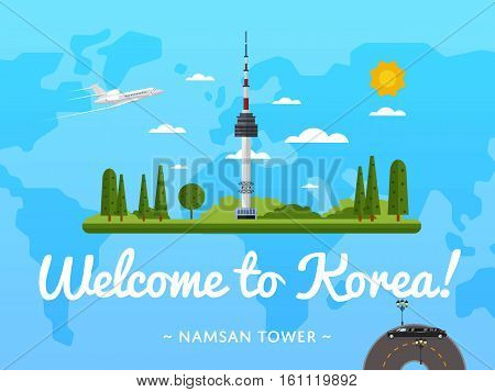 Welcome to Korea poster with famous attraction vector illustration. Travel design with Namsan tower in Seoul. Worldwide air tourism, traveling agency banner, South Korea architectural landmark banner