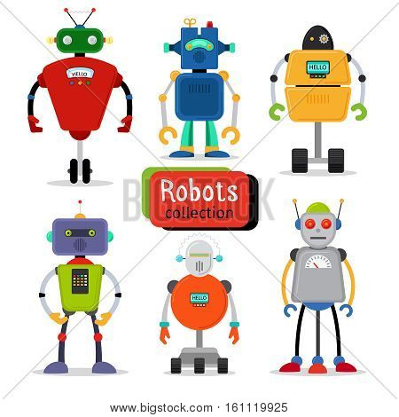 Cute cartoon robots set on white background. Vector illustration