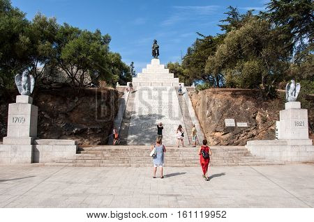 AJACCIO, CORSICA, FRANCE, AUGUST 30, 2016: Memorial of Napoleon Bonaparte as First imperator of France