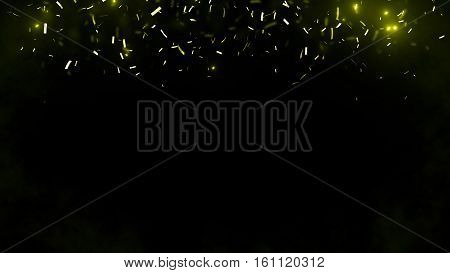 Abstract background with many falling tiny confetti pieces. Randomly flowing confetti background. Background for party celebrate carnival birthday. Celebration background with blurred confetti.