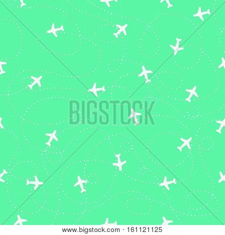 Planes with trajectories and on the light blue sky. Seamless vector background.Seamless pattern