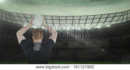 3D Rugby player about to throw a rugby ball against rugby stadium