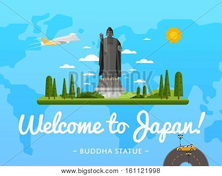 Welcome to Japan poster with famous attraction vector illustration. Travel design with standing Buddha statue. World travel and tourism concept, traveling agency banner, Japan architectural landmark