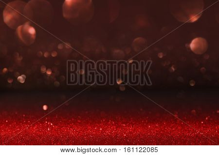 Red sparkling background with bokeh for valentines day