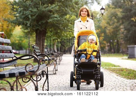 Mother with baby in pram walking in autumn park