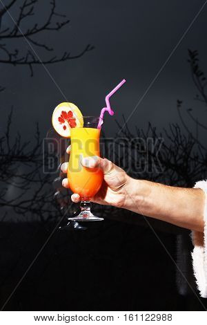 Male Hand Holding Alcoholic Cocktail