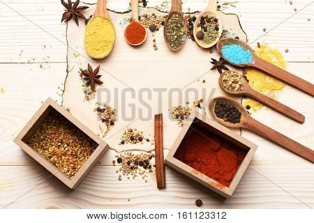 Spicy Fragrant Spices In Spoons