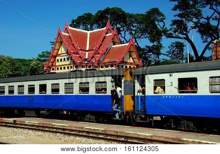 Hua Hin Thailand - December 31 2009: Thai National Railways regional train stopped at the Hua Hin Railway Station * (S) (DT)