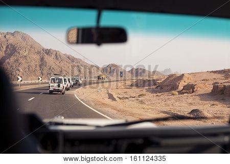 Sharm el sheikh, Egypt. Trip safari with car in desert. View from the car window