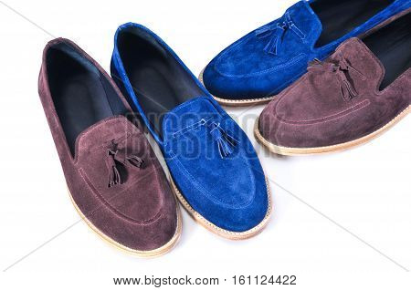 Men's leather moccasins isolated on white background. stylish blue and beige two pairs shoes isolated on white background. Handmade Shoes