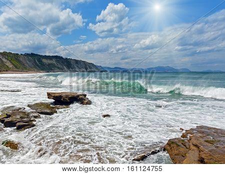 Beach Azkorri Or Gorrondatxe Sunshiny View.