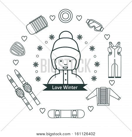 Winter kids activities line icon set. Girl with winter vacation items concept. Sun, ski, sweater, sleds, snowboard, jumpsuit, safety glasses and winter scooter web icon set.