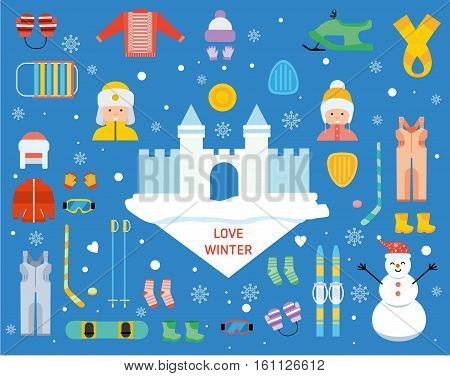 Love winter concept banner template. Winter sports recreation pictogram collection. Children's winter holiday. Winter resort, games, fun and gear vector icon set. Flat style design