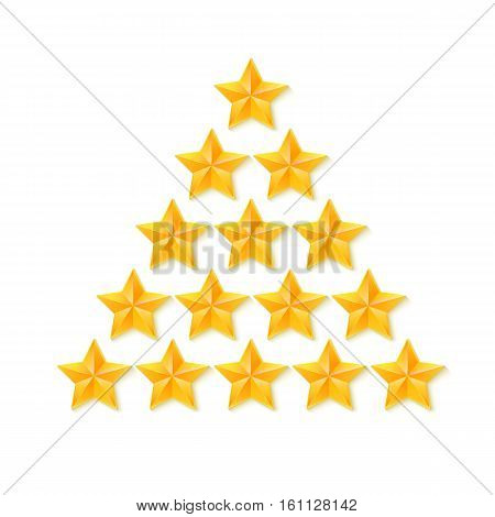 Set of rating stars. Gold, metal five-pointed stars in the shape of a Christmas tree. isolated on white background