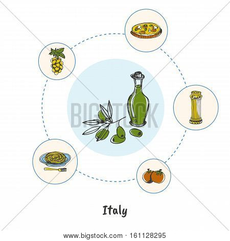 Attractive Italy. Bottle of olive oil colored doodle surrounded antique column, pasta, grapes, tomatoes, pizza hand drawn vector icons. Italian cultural and culinary symbols. Travel in Europe